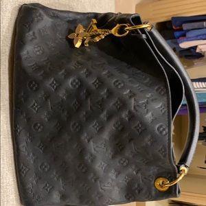 LV leather black bag